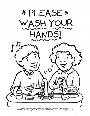 Wash Hands Coloring Book Page